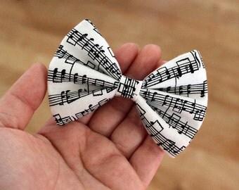 "3.5"" Music notes hair bow, black and white hair bow, sheet music hair bow, cotton fabric hair bow, small hair bow, hair bow for kids girls"