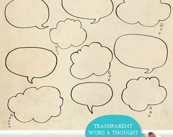 Chatty Line Art Digital Clip Art Graphics Hand Drawn Word Bubble and Thought Clouds