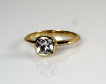 White Topaz 14K Gold Stackable Ring - Made to Order in Your Size
