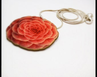 Pink Camellia Japonica -  The Rose of Winter Illustration Pendant Necklace