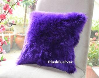 "17""x17"" Purple Luxury Shaggy Fur Pillows Faux Fake Fur Pillow (INSERT INCLUDED) Bedding Sofa Pillows decor plush pillows"