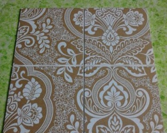 Set of 4 decoupage tile coasters. Brown and white damask coasters.
