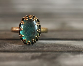 Little sea green ring, adjustable ring, statement ring, antique brass ring, glass dome ring, antique bronze ring, oval ring, some magic