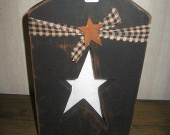 Standing paper towel holder w/star cutout