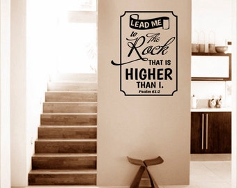 Religious Wall Decal. Lead Me To The Rock v1 - CODE 143