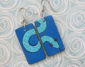 Serpent Earrings, Blue, upcycled, handpainted