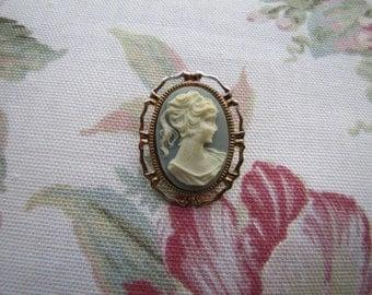 Vintage Victorian Brooch / Gold Blu e Cameo / White Cameo Blue