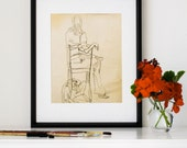 """Vintage Drawing, Giclee Print, Charcoal Drawing, Contour, Seated Woman, Eclectic Decor, Black and White Art, 1970s, 8""""X10"""" - """"Quirky Girl"""""""