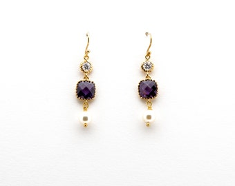 Amethyst Crystal with CZ and Pearl Drop Earrings, Dangle Earrings, Wedding Jewelry, Bridesmaid Jewelry, Mother's Day