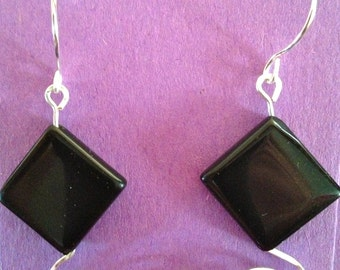Black hammered silver earrings