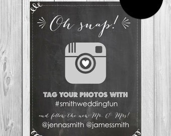 Printable Instagram Wedding Sign, Chalkboard Instagram Sign, Printable Social Media Sign, Instagram Sign, Chalkboard Instagram Print