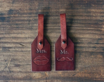 Mr and Mrs. Custom Leather Luggage Tags, Handmade personalized gift, His and Hers, Mustache, lips kiss, Keychain, Wedding, Honeymoon,Bridal