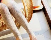 Knitted over the knee socks Knitting wool leg warmers knit boot socks cuff teen girls fashion wool legging beige Christmas gift ideas