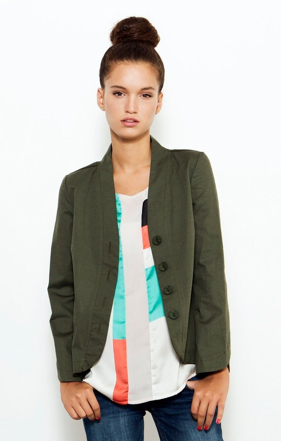 SALE Green Jacket Spring Jacket Tailored Jacket by DayOffDesign