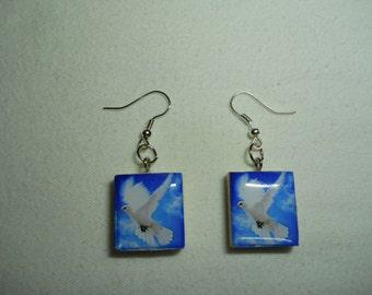 Scrabble Tile Earrings, Scrabble Tile Dove Earrings, Scrabble Tile, Scrabble Jewelry, Handmade, Scrabble, Jewelry, Gift, Scrabble Earrings