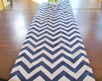 TABLE RUNNER 12 x 48 NAVY Blue Chevron Table Runners Wedding Showers Decorative Navy Holiday Table Runner 48 60 72 84 96