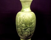 Stoneware Vase Green Embossed Raised Mountain Scene Glazed