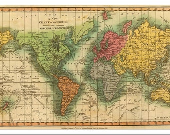WORLD MAP, Map of the World, Vintage Map 1811, World Political Map, World Map Poster, Large World Map