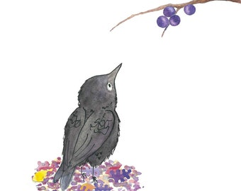 Little Bird with berries greeting card (blank inside)