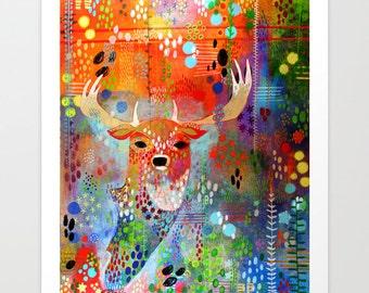 Deer Print, Unique Contemporary Art Print, Alaskan Art