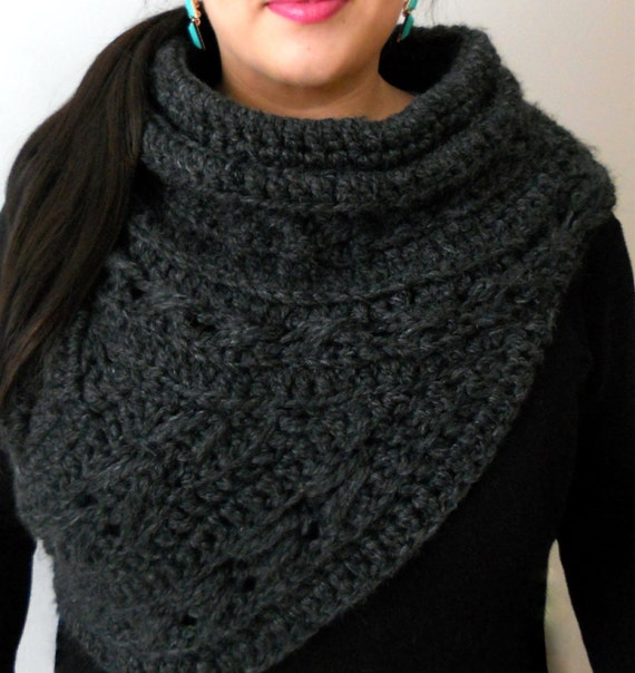 Knitting Pattern Cowl Shrug : Kat Cowl Wool Blend Scarf Shawl Huntress by TheGreatMittenandCo