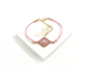 Evil Eye Bracelet - Pink - Friendship bracelet, Charm bracelet - Trendy Evil Eye bracelet arrives in a white gift box!