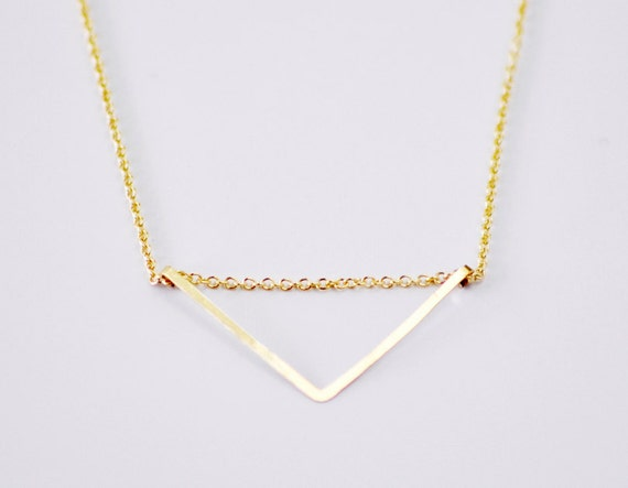 Chevron necklace - gold filled necklace - triangle necklace - minimalist necklace - hammered jewelry - geometric necklace - Gold chevron