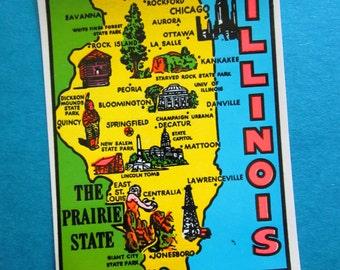SALE Vintage State of Illinois Windshield Decal