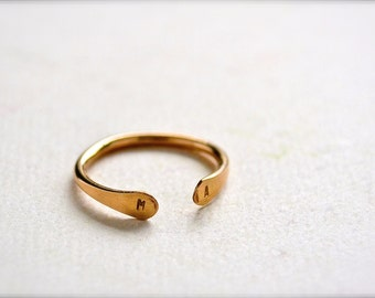 Custom Initial Ring - gold initial ring, double initial ring, two initial, monogram, personalized ring, sweetheart ring