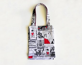 Red White and Black Newsprint Tote Bag