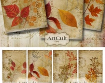 AUTUMN MEMORIES - Digital Collage Sheet Printable downloadable Gift tags Jewelry Holders Vintage Paper goods artcult graphics