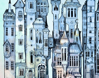 Twilight City Skyline - giclée Fantasy Art Print  - WALL Art PRINT  childrens art - blue - silver - twilight  - Victorian Steampunk
