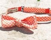 Tangerine  Linen Gingham Adjustable Batwing Bow Tie