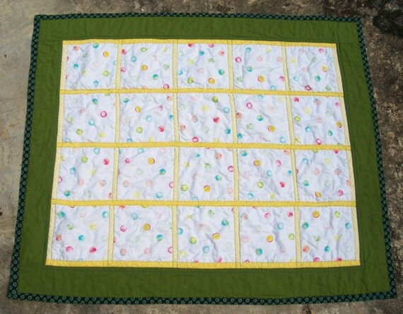 Bubbly Dots Quilt for Little Boy Toddler Baby Boy Quilt with Bubbles Bordered in Olive Green and Yellow