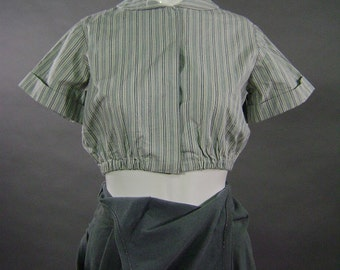 Vintage Edwardian Blouse, Reproduction Factory Uniform Top, Short Sleeve, Round Collar, Elastic Waist, Blue White Ticking Stripe, B 36,  x4