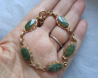 Vintage 1960's Apple Green Jade Gold Filled 1/20 of 10K Bracelet - EPSteam, Asian, Oriental, Chinese motif Spring green #Scentedlingerie