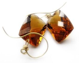 18k Gold Citrine Earrings, 18k Gold Citrine Single Stone Dangle Earrings