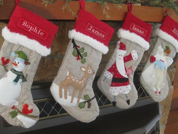 santa christmas stocking with monogram pottery barn woodland. Black Bedroom Furniture Sets. Home Design Ideas
