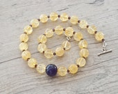 Golden Necklace, Purple Amethyst and Sparkly Quartz Necklace withPurple Swarovsky Crystal, Chunky Everydaywear Necklace, Statement Necklace