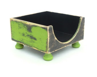 NAPKIN holder, Wooden box green, Napkin holder green black, Rustic style, Cottage style, Shabby Chic, for Mother, Spring decor for home