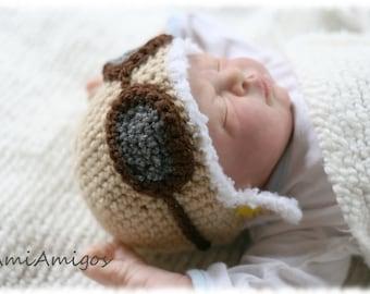 Crochet Aviator Hat (Tan Color - 1-3m)