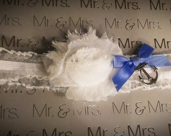 Wedding Garter with Sailor Anchor for Nautical Marine Boating and Sea Theme
