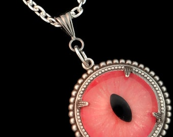 Sightmares ™ © Myth Eye in Pink and Gold Glitter set in Silver plated brass by Dr Brassy Steampunk