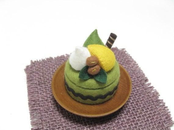 Made To Order - Felt Ring Box - Felt Green Tea Cake Box - Tiny Keepsake Box - Pill Box - Small Trinket Box