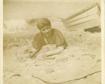 "Vintage Photo ""Buried Deep"" Girl Bathing Suit Beach Snapshot Photo Antique Black & White Photograph Found Paper Ephemera Vernacular - 114"