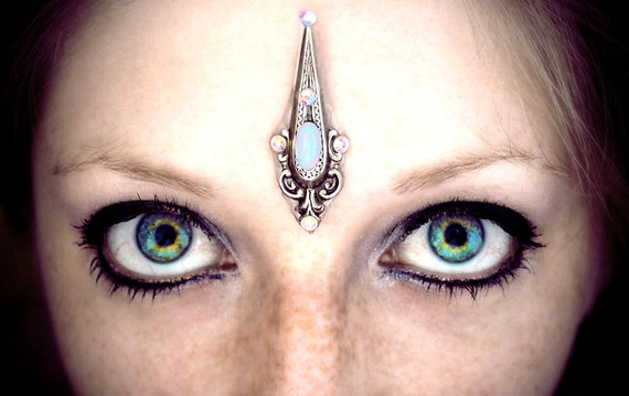 Titania Bindi, fairy queen, crystal, opal, fantasy, wicca, gypsy, pagan, goddess, whimsical, tribal fusion, belly dance costume, silver, fae