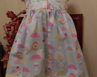 Sweet Pastel Chicks n Bunnies . Girls Size 4 . CAPPED SLEEVE DRESS . sewn by me