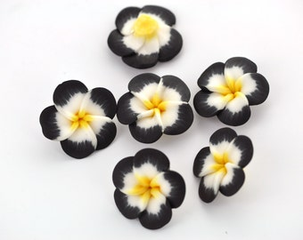 "4 Polymer Clay Flower Pansy Plumeria Violet Beads . 25mm (1"") . BLACK, YELLOW and WHITE pol0042"