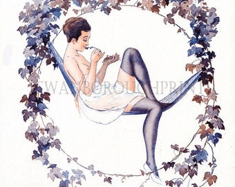 Art Deco French Nude Bathroom Print, Lavender Stockings Bathroom Nude, Home Decor Art Print. French Bedroom Wall Art Print, Lazy Summer Day