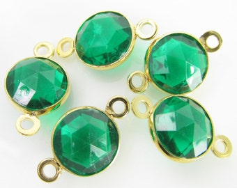 8 Vintage 18x10mm Emerald Green Faceted Gold-plated Two Loop Connectors Con196